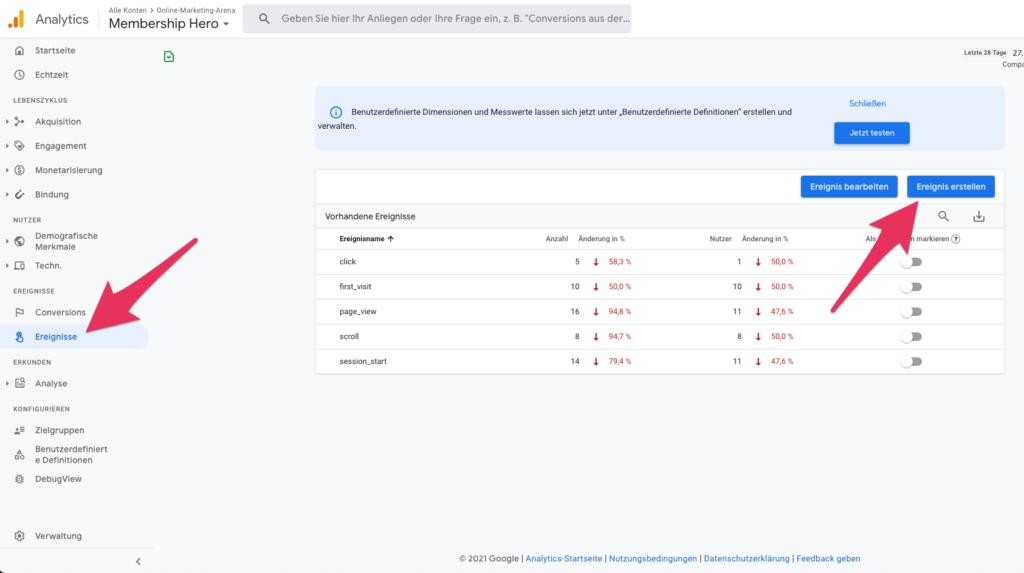 Google Analytics 4 Zielvorhaben einrichten Ereignisse einrichten