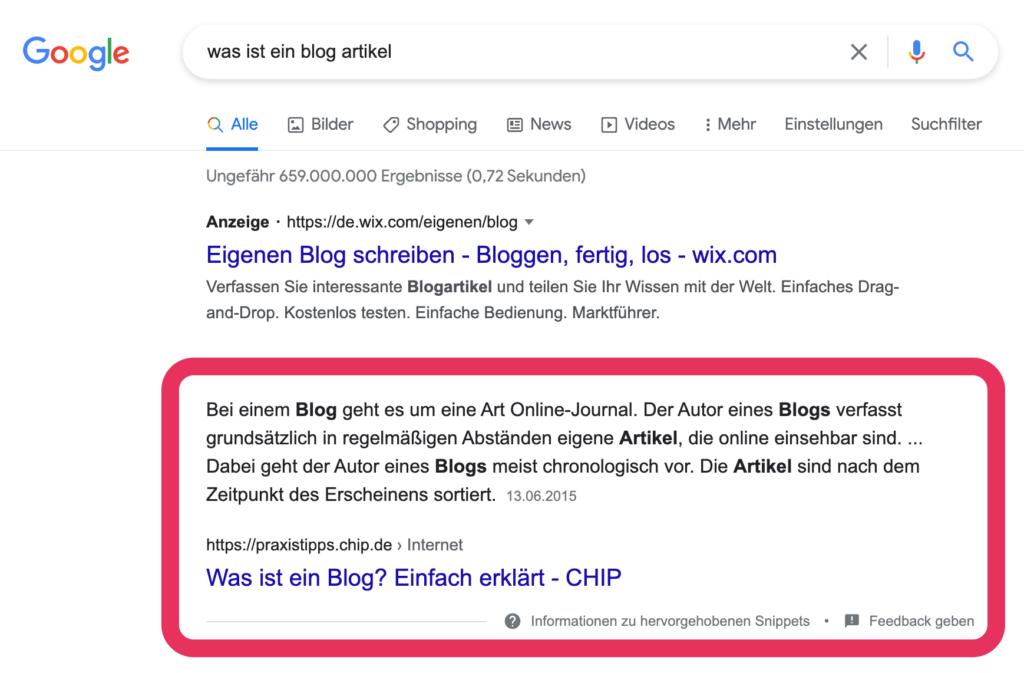 Wie lange braucht man für einen Blogartikel Snippet