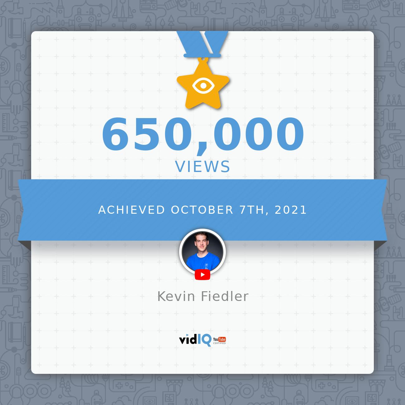 650 Aufrufe YouTube Kevin Fiedler